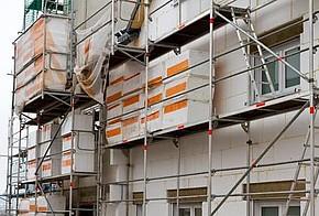 Dämmung Fassade Gerüst Mehrfamilienhaus