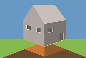 Schematische Darstellung eines Haus mit einer Perimeterdämmung